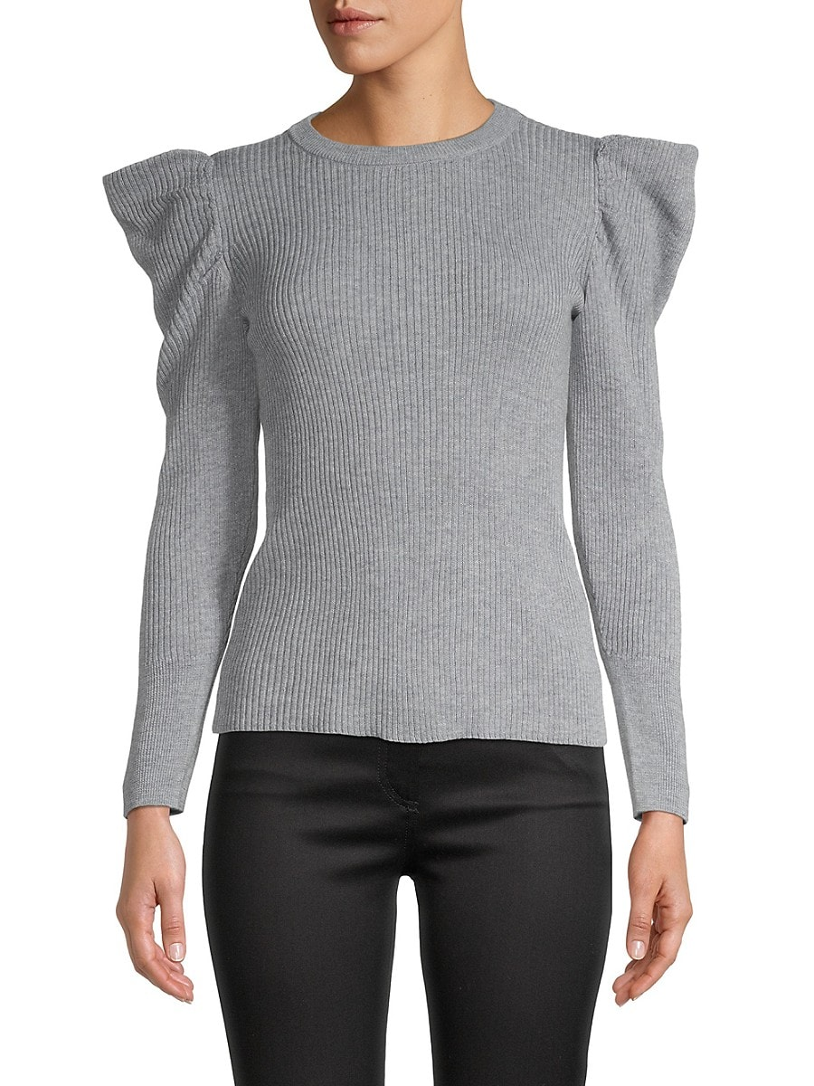 Women's Puff Sleeve Ribbed Sweater