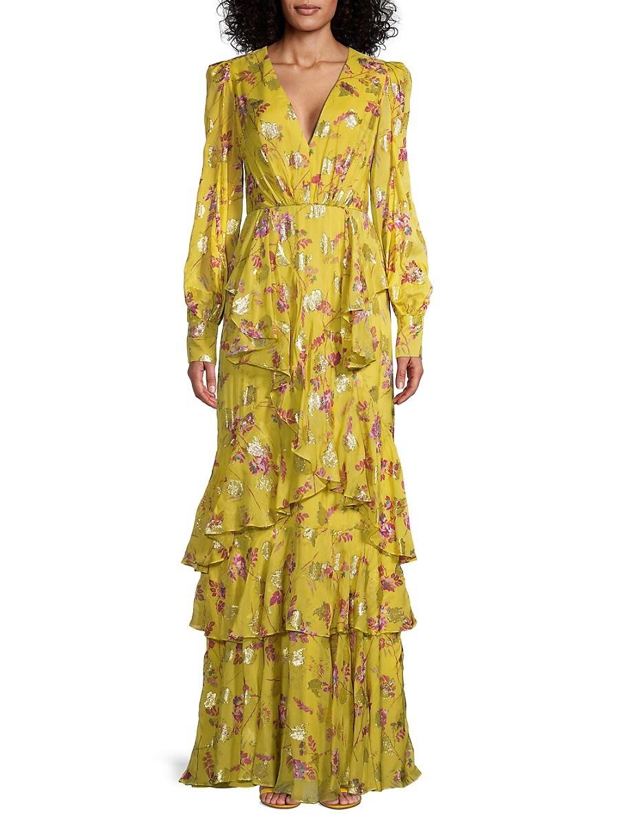 Flor et. al Women's Antonio Floral Ruffle-Tiered Maxi Dress