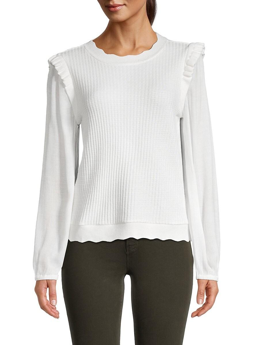 Women's Ruffle Trim Knit Sweater