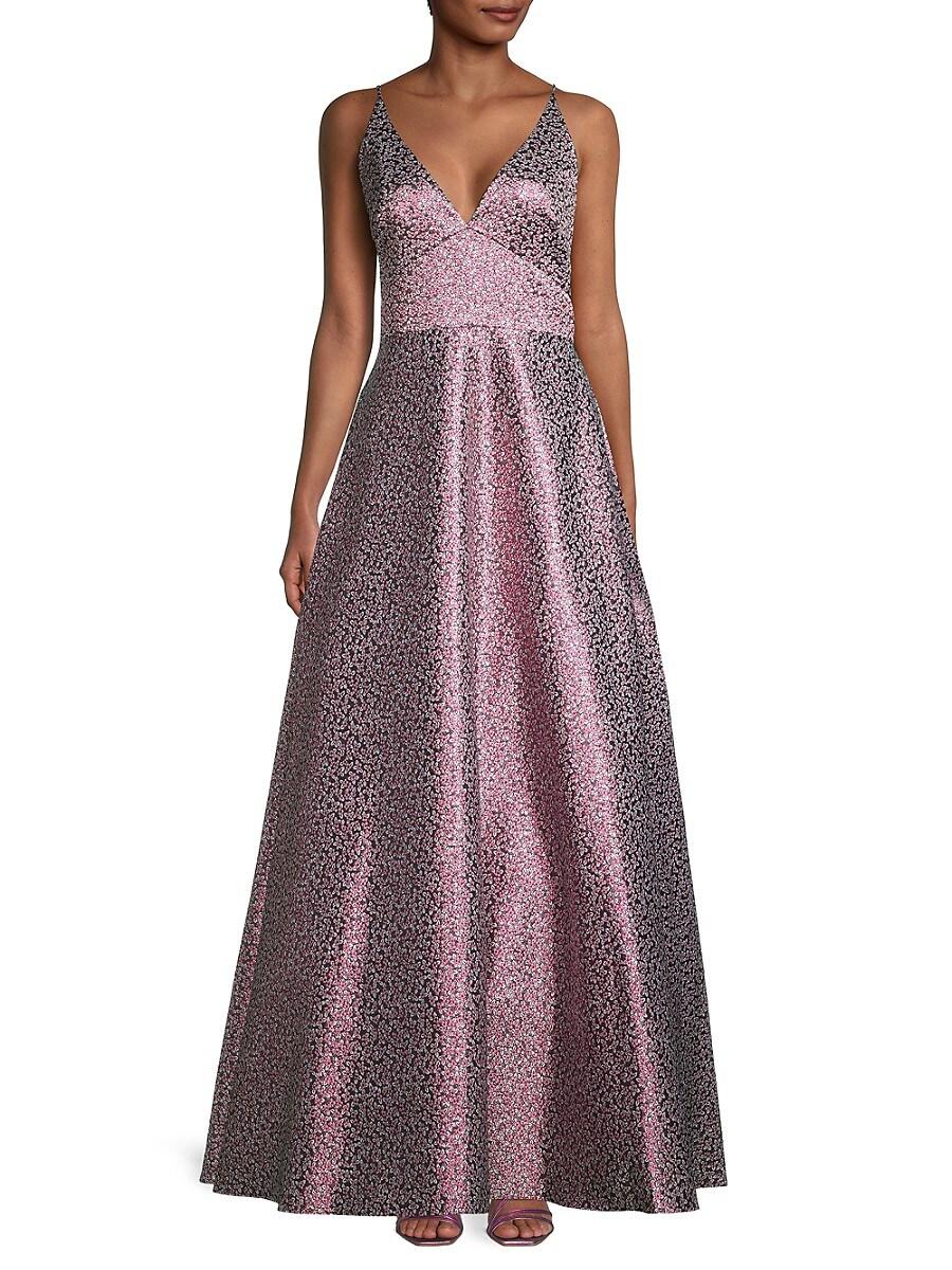 Women's Metallic Floral Ball Gown