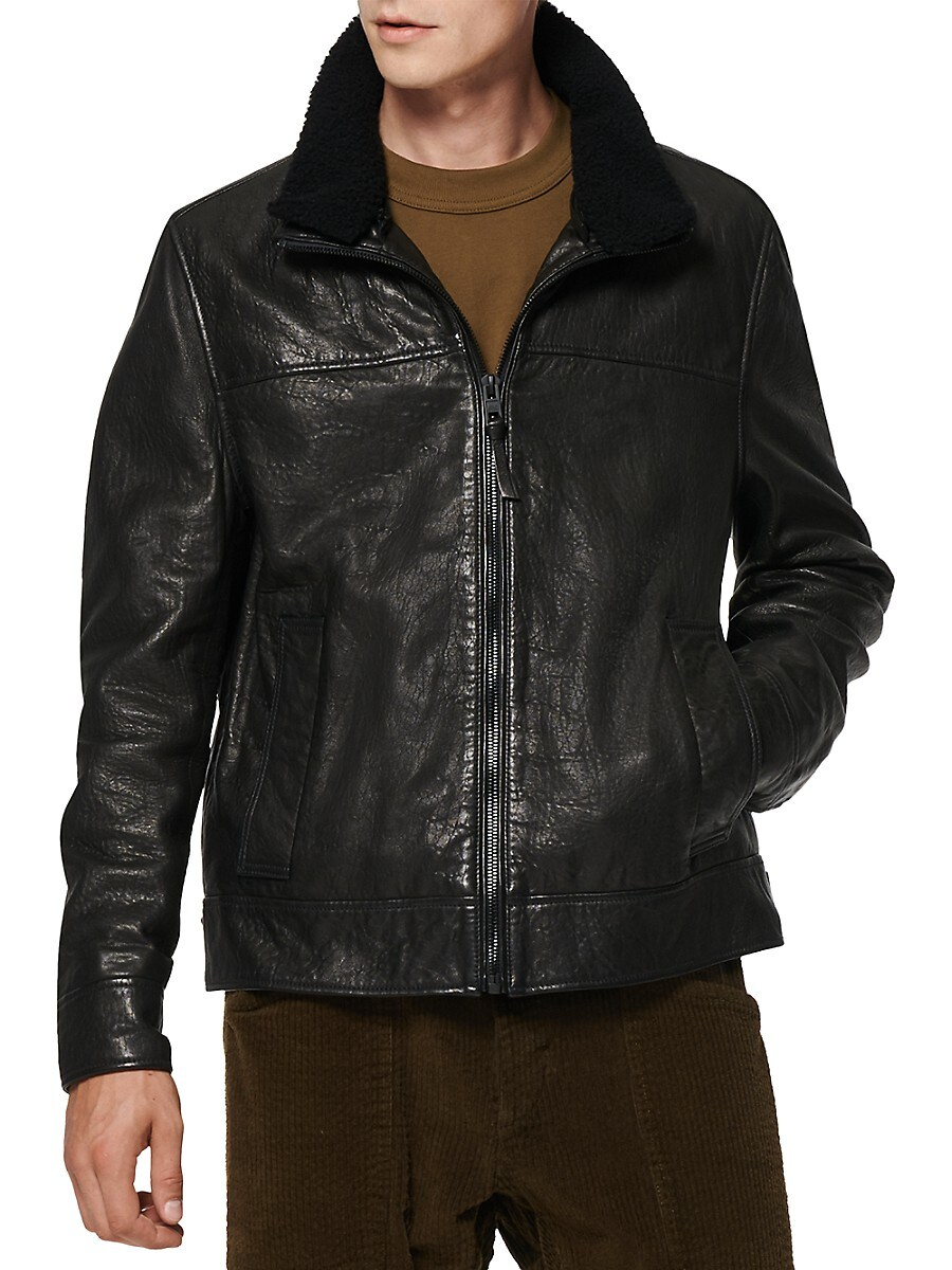 Men's Augustine Leather & Shearling Fur-Trim Jacket
