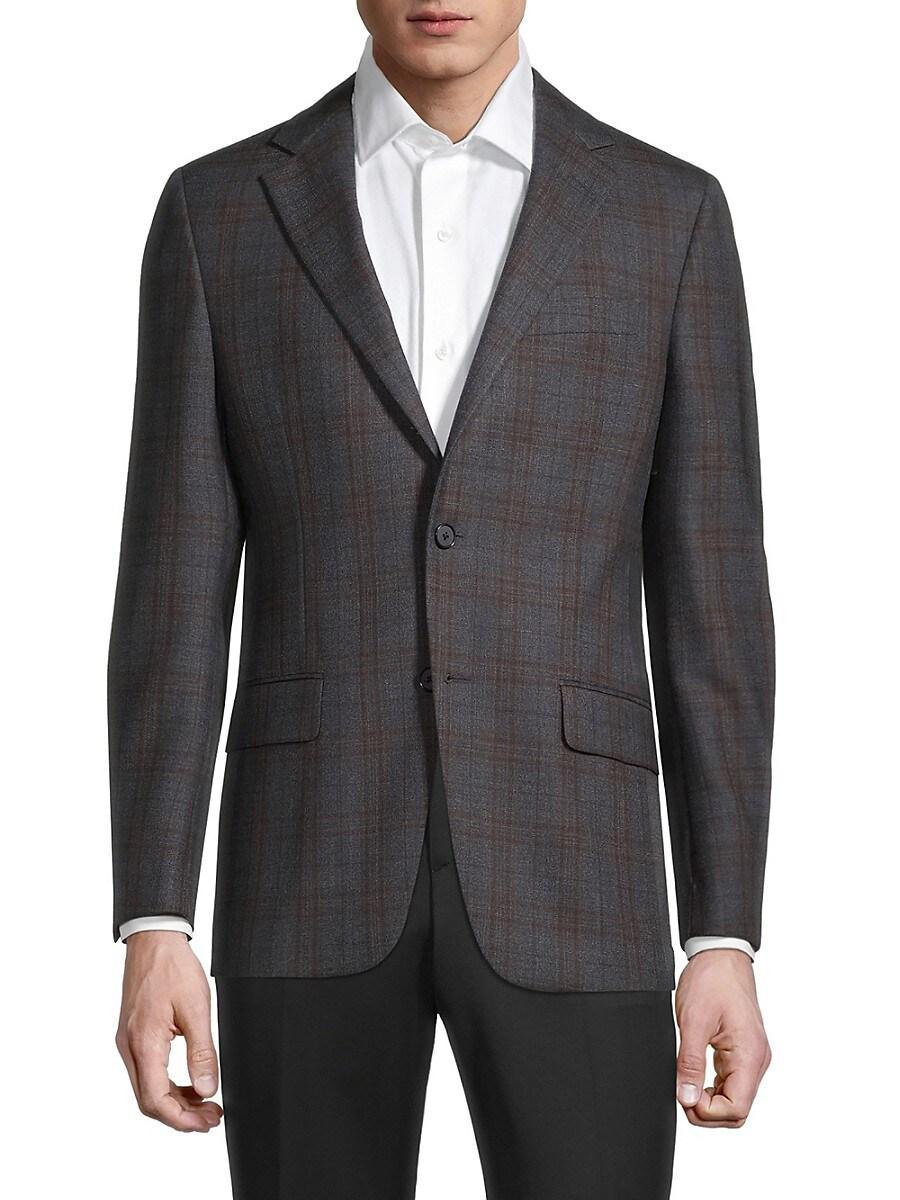 Men's Milburn II Regular-fit Windowpane Plaid Wool Sports Jacket