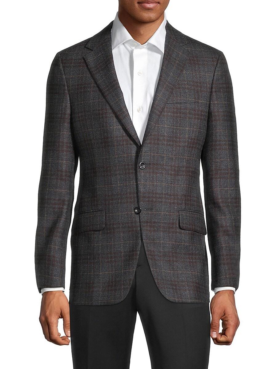 Men's Milburn II Regular-Fit Windowpane Plaid Wool & Silk Blazer