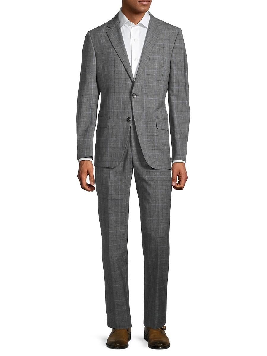 Men's Milburn II Regular-Fit Windowpane Plaid Wool Suit