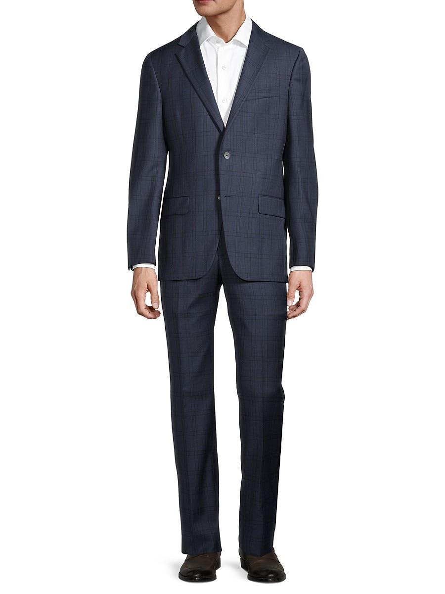 Men's Milburn II Regular-Fit Plaid Wool Suit