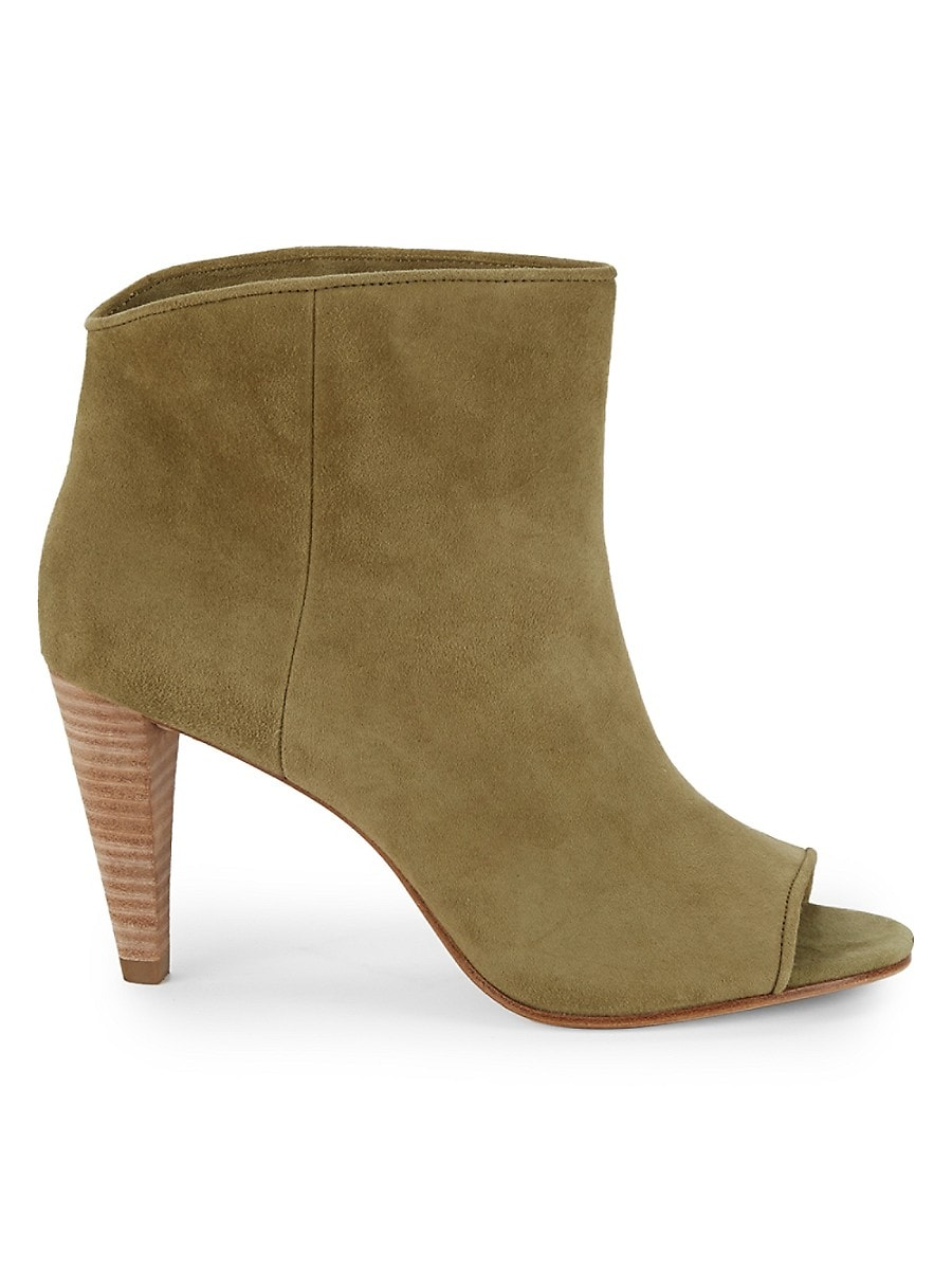 Women's Simone Peep-Toe Leather Booties
