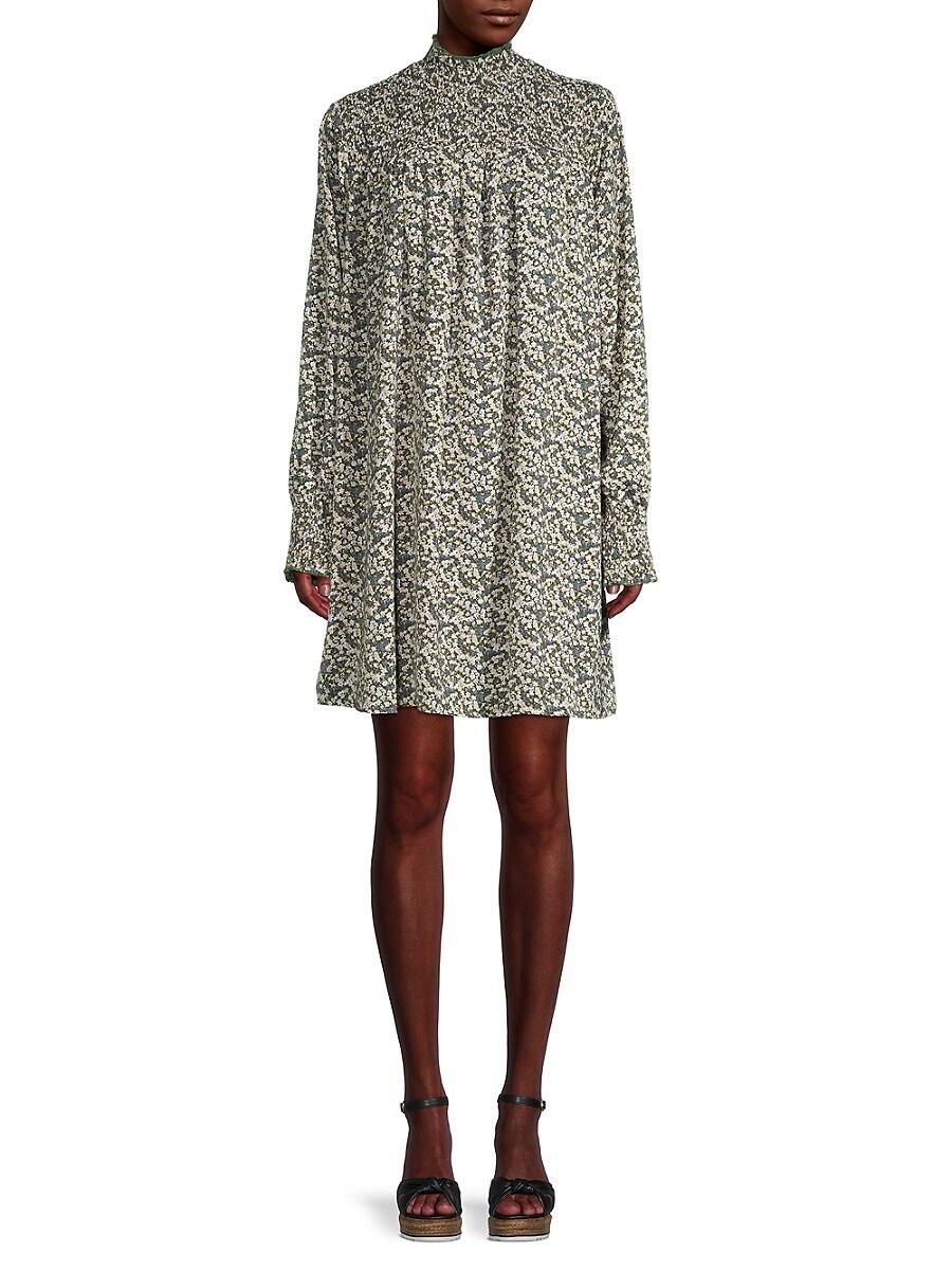 Women's Floral Mockneck Shift Dress