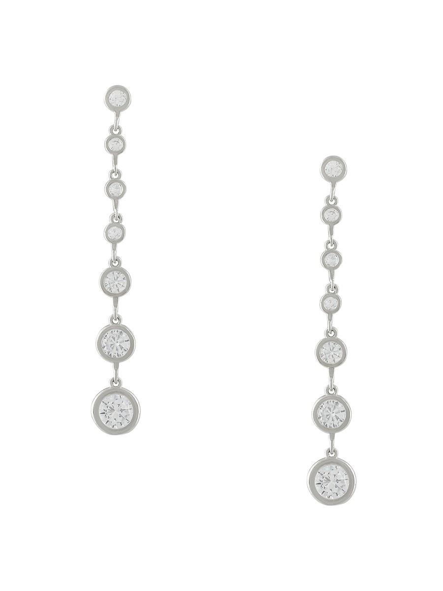 Women's Rhodium-Plated & Cubic Zirconia Long Drop Earrings