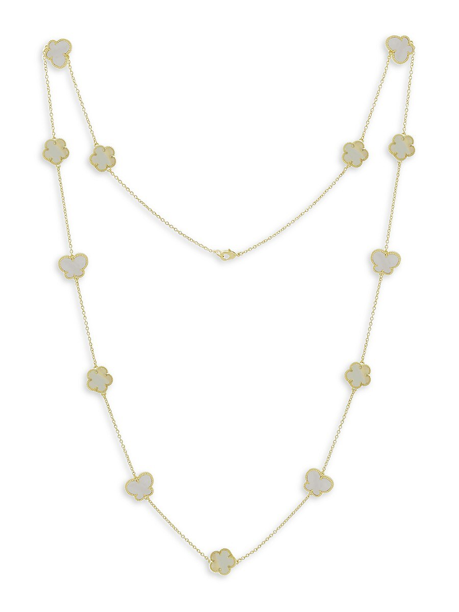 Women's Flower & Butterfly 14K Goldplated & Mother of Pearl Station Necklace