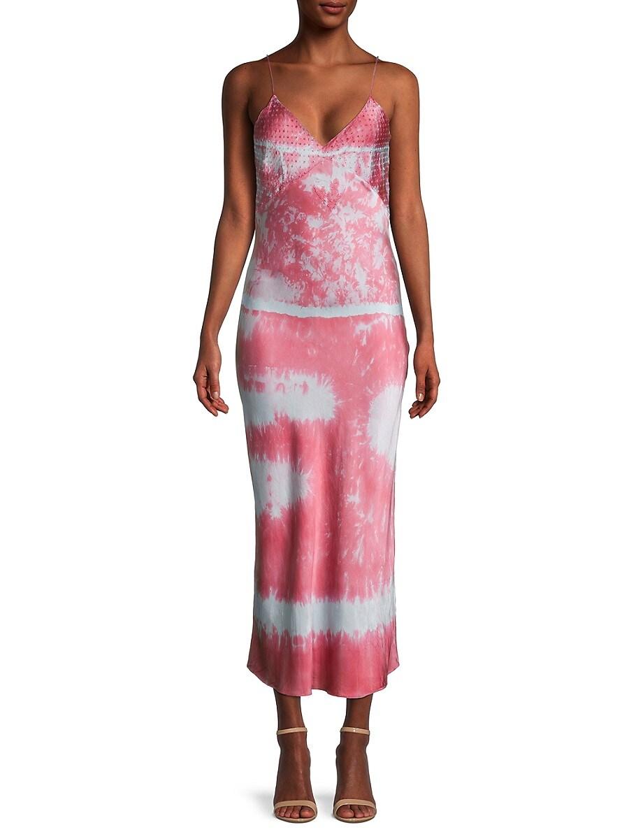 Women's Tie-Dye Embroidered Silk Slip Dress