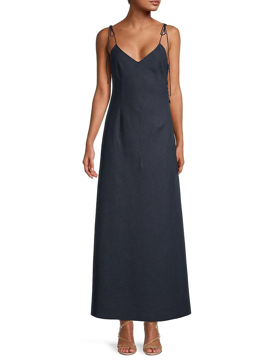 Women's Linen Tie-Shoulder Maxi Slip Dress