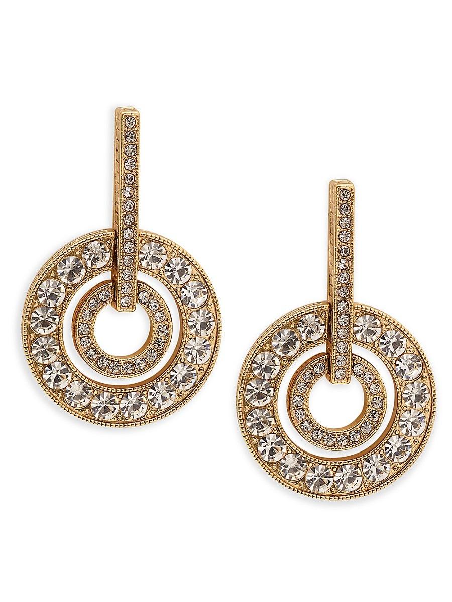 Women's Brass Ox Plated Crystal Drop Earrings