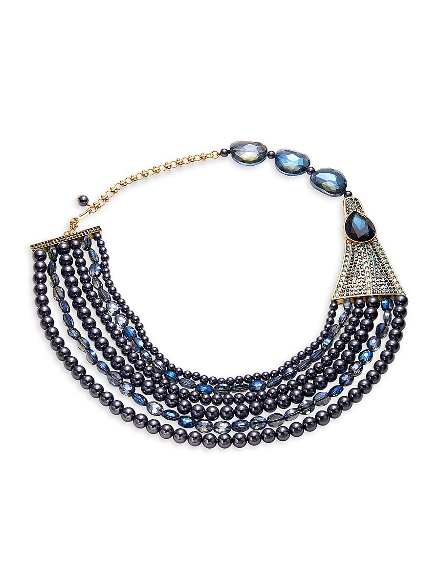 Women's Brass Ox Plated Beaded Crystal Multi-Layer Necklace
