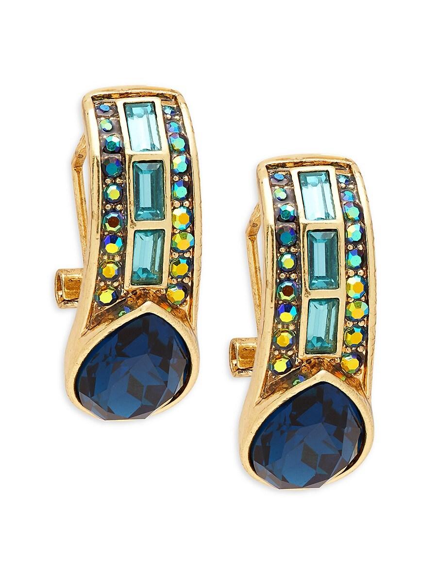 Women's Brass Ox Plated Crystal Earrings