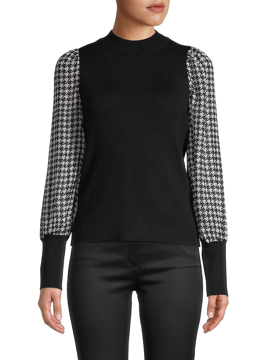 Women's Printed Chiffon Sleeve Sweater