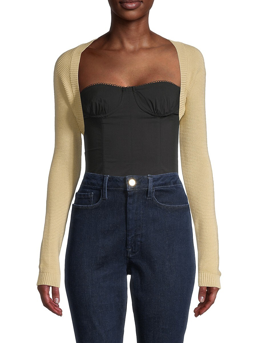 Women's Cropped Open-Front Cardigan