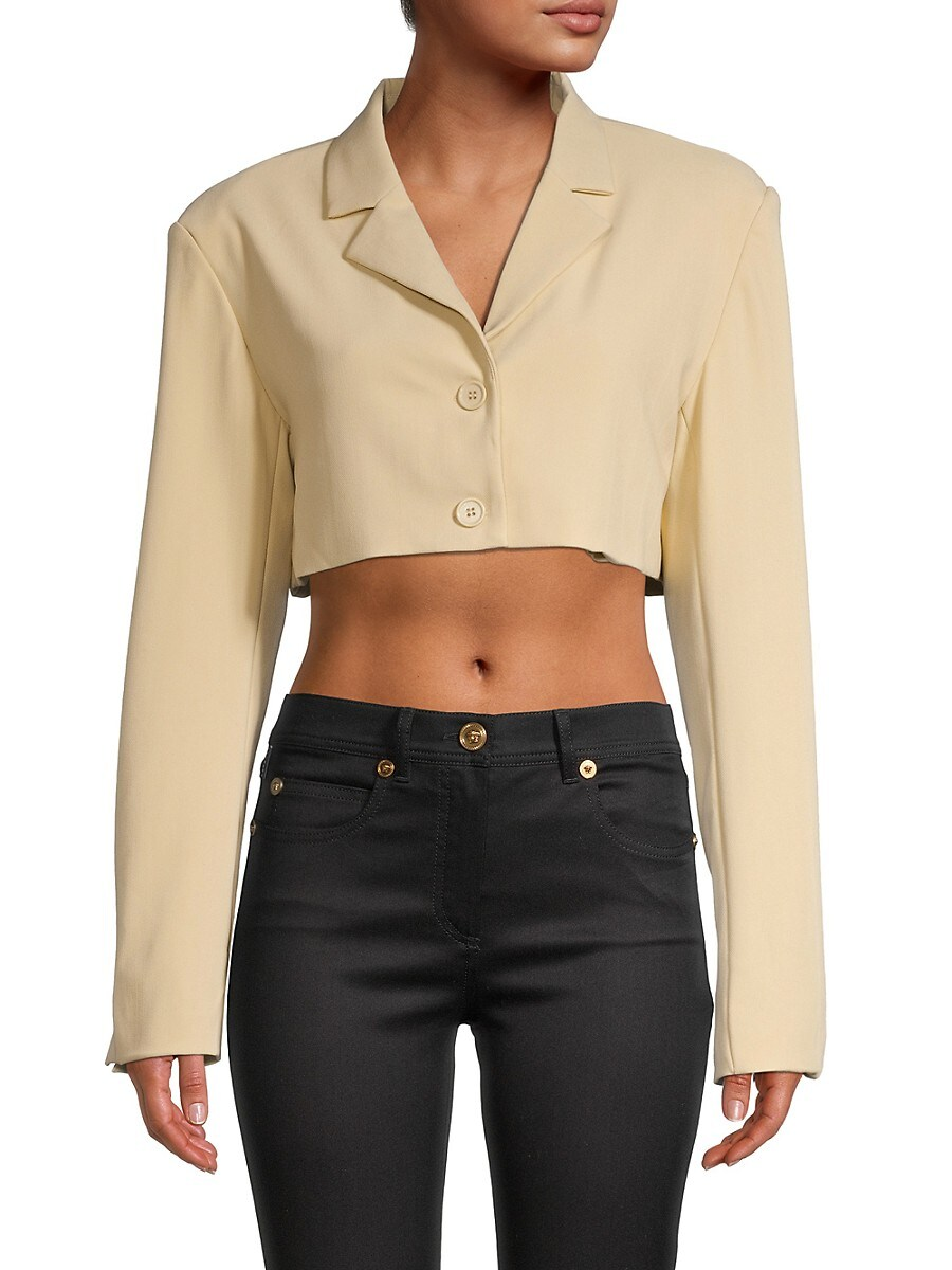 Women's Solid-Colored Cropped Blazer