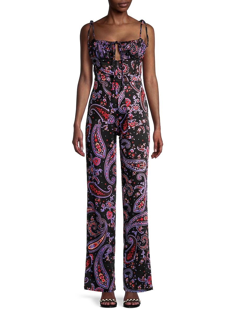 Women's Paisley-Print Ruched Jumpsuit