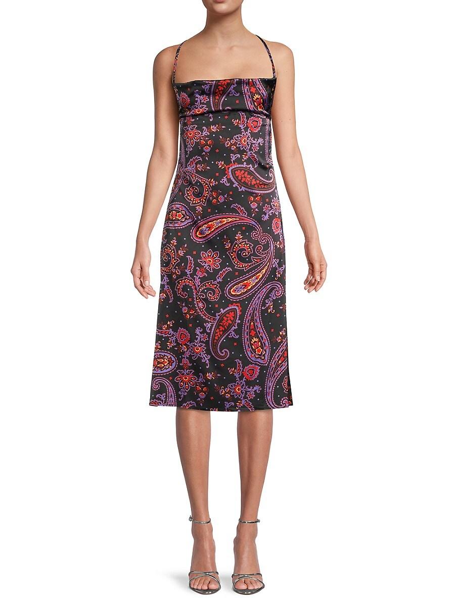 Women's Paisley-Print Cowl-Back Dress