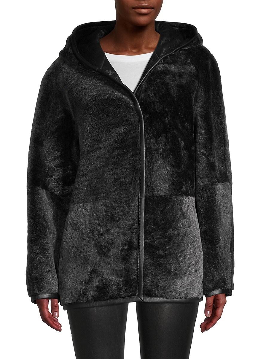 Women's Reversible Shearling Hooded Jacket