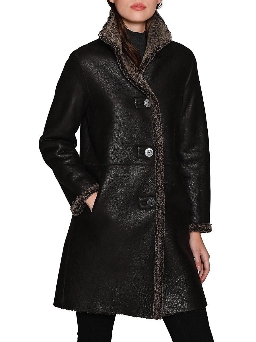 Women's Shearling & Leather Reversible Coat