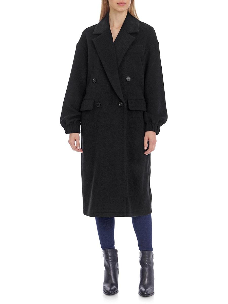 Women's Blouson-Sleeves Double-Breasted Twill Coat