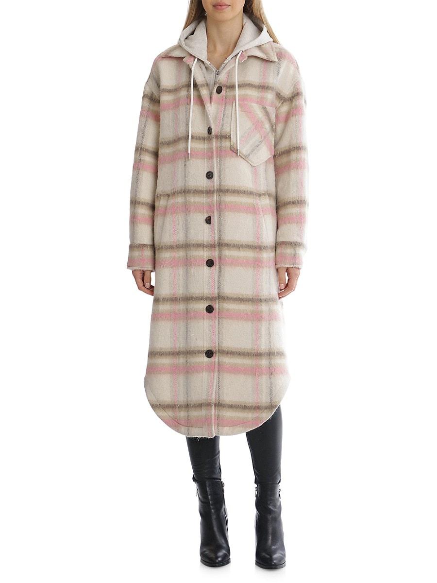 Women's Checked Longline Hooded Shirt Jacket
