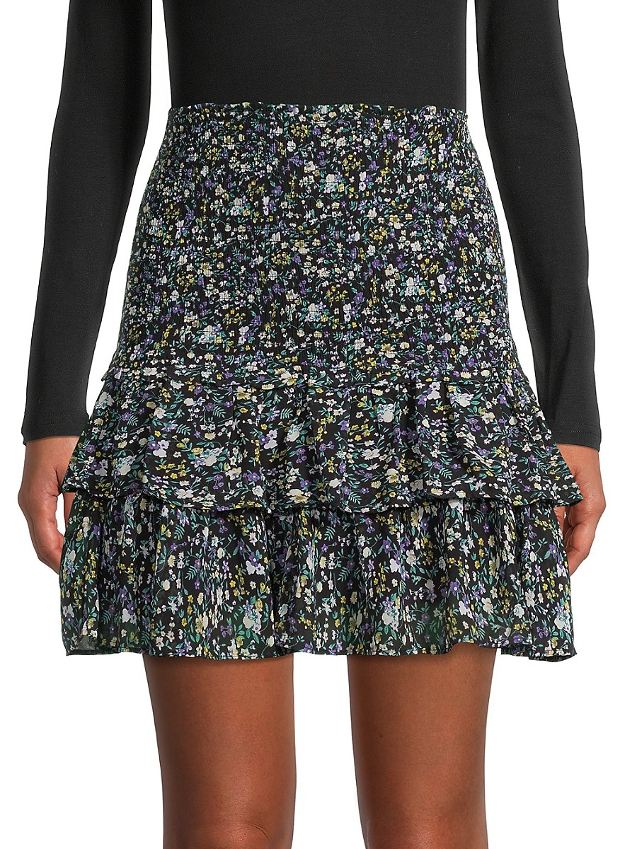 Women's Floral Smocked A-Line Skirt