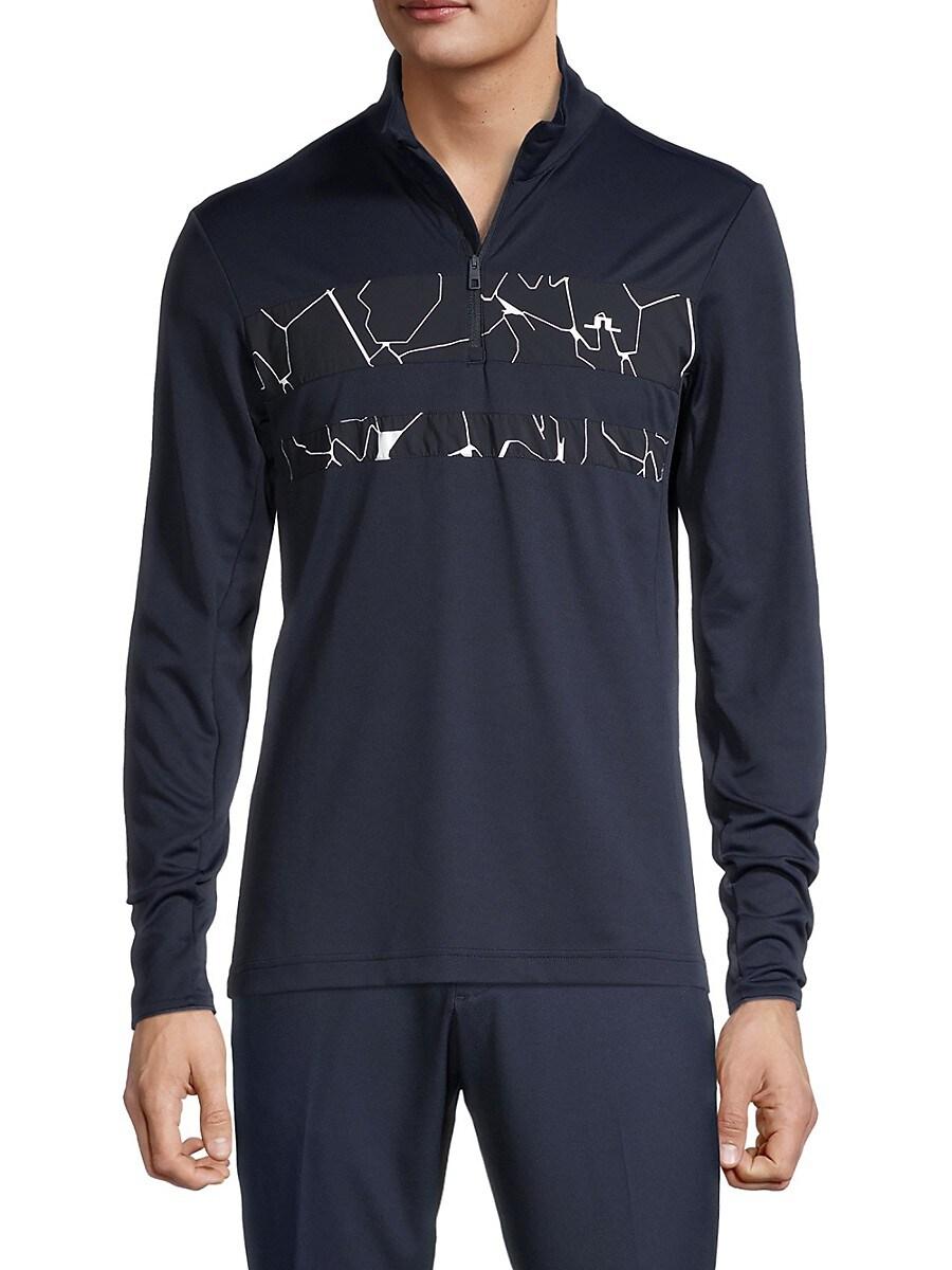 Men's Bran Quarter-Zip Golf Print Sweater