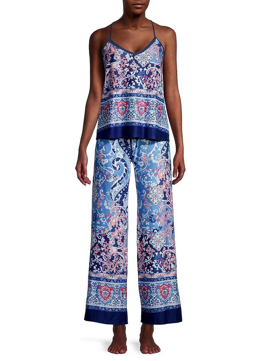 Women's 2-Piece Satin Print Pajama Set