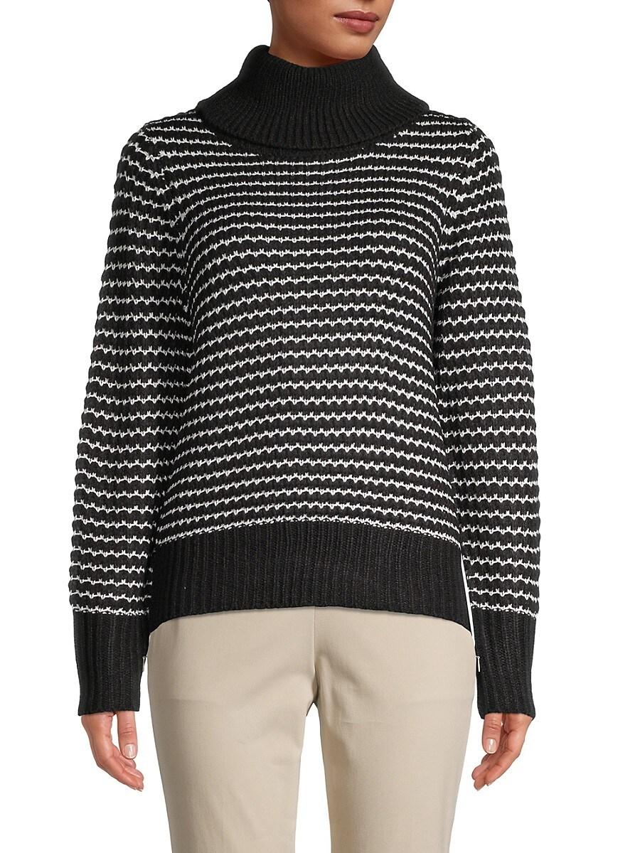 Women's Striped Turtleneck Sweater