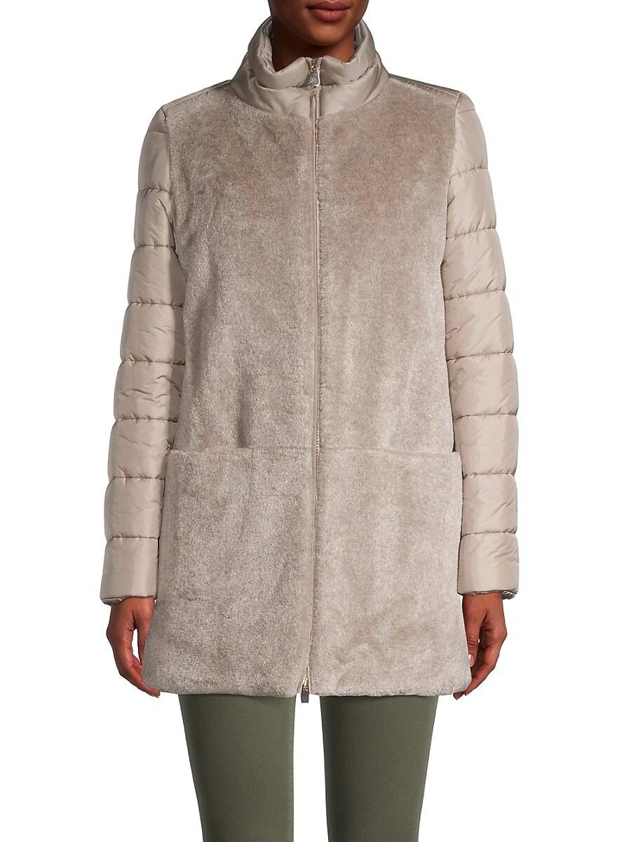 Women's Faux Fur Quilted Longline Jacket