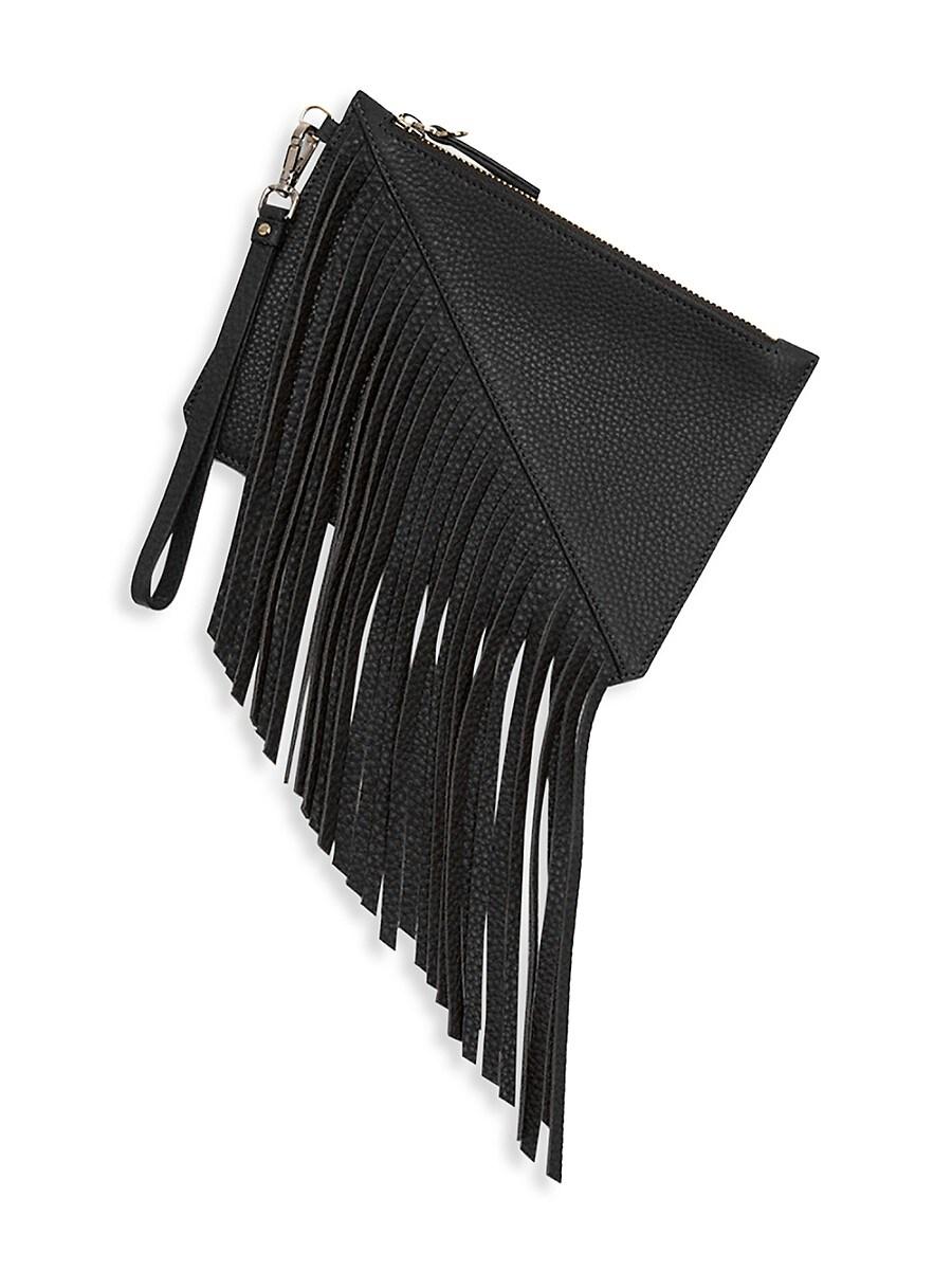 Women's Small Moda Fringe Leather Wristlet Pouch