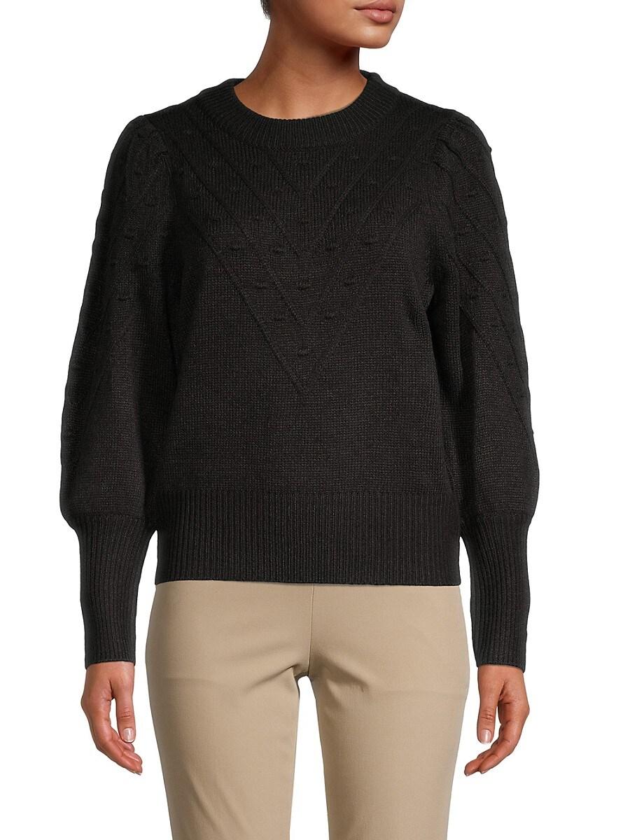Women's Puff Sleeve Pom Pom Sweater