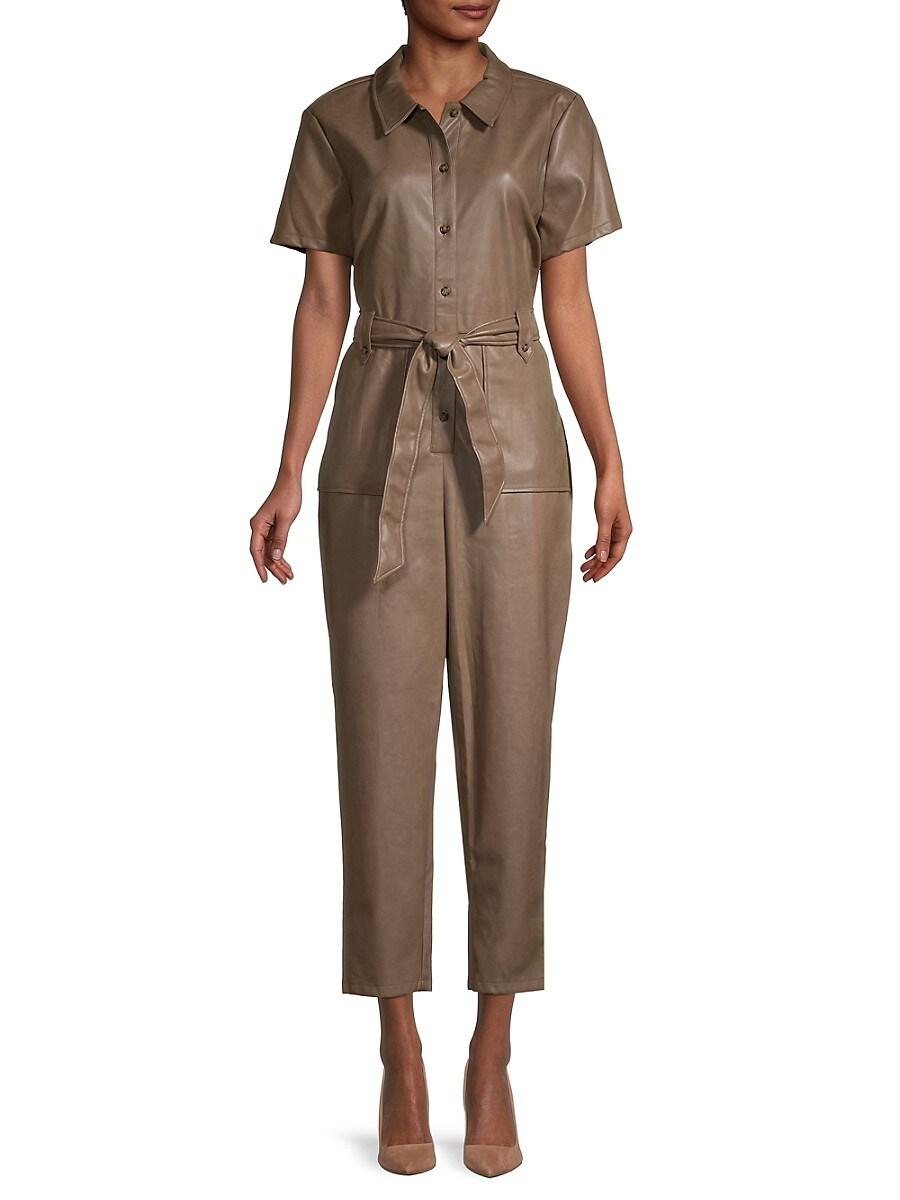 Women's Faux Leather Cropped Jumpsuit