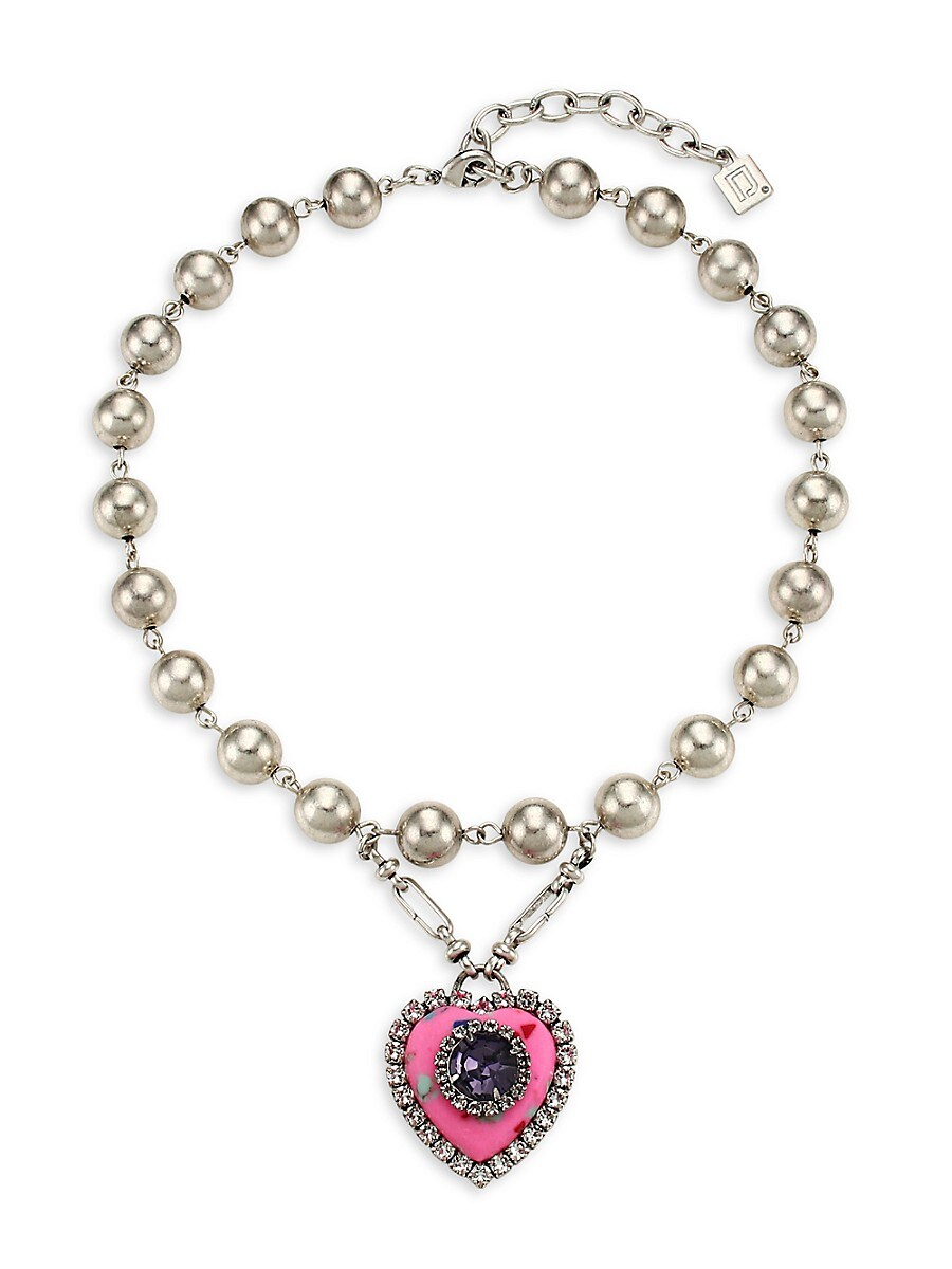 Women's Pia Embellished Heart Pendant Beaded Collar Necklace