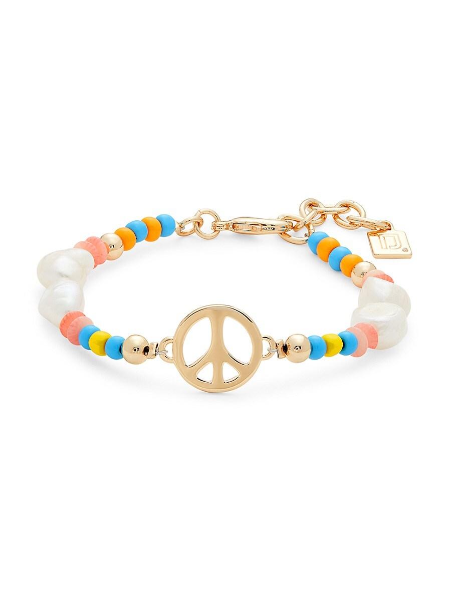 Women's Garcia Peace Goldplated & 9-10MM Freshwater Pearl Beaded Bracelet