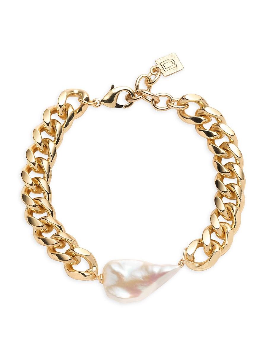 Women's Nix 10K Goldplated & 25MM Pearl Curb-Link Bracelet