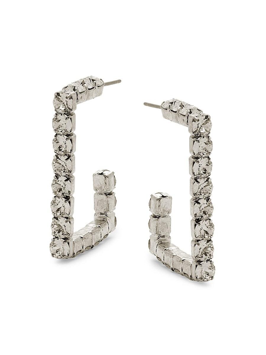 Women's Archie Silverplated & Swarovski Crystal Hoop Earrings