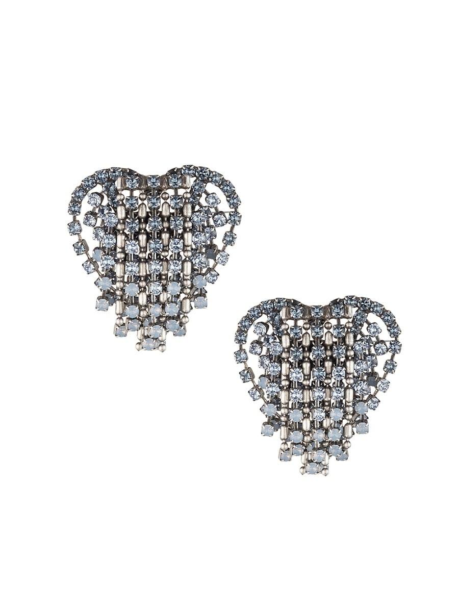 Women's Cecily Crystal Heart Pendant Earrings