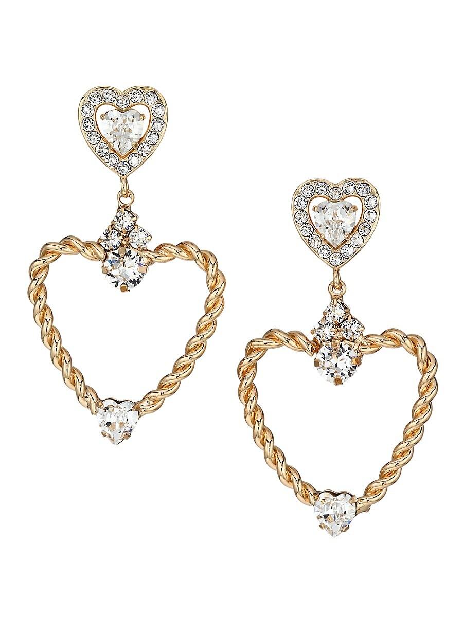 Women's Amorette 18K Goldplated & Crystal Heart Earrings