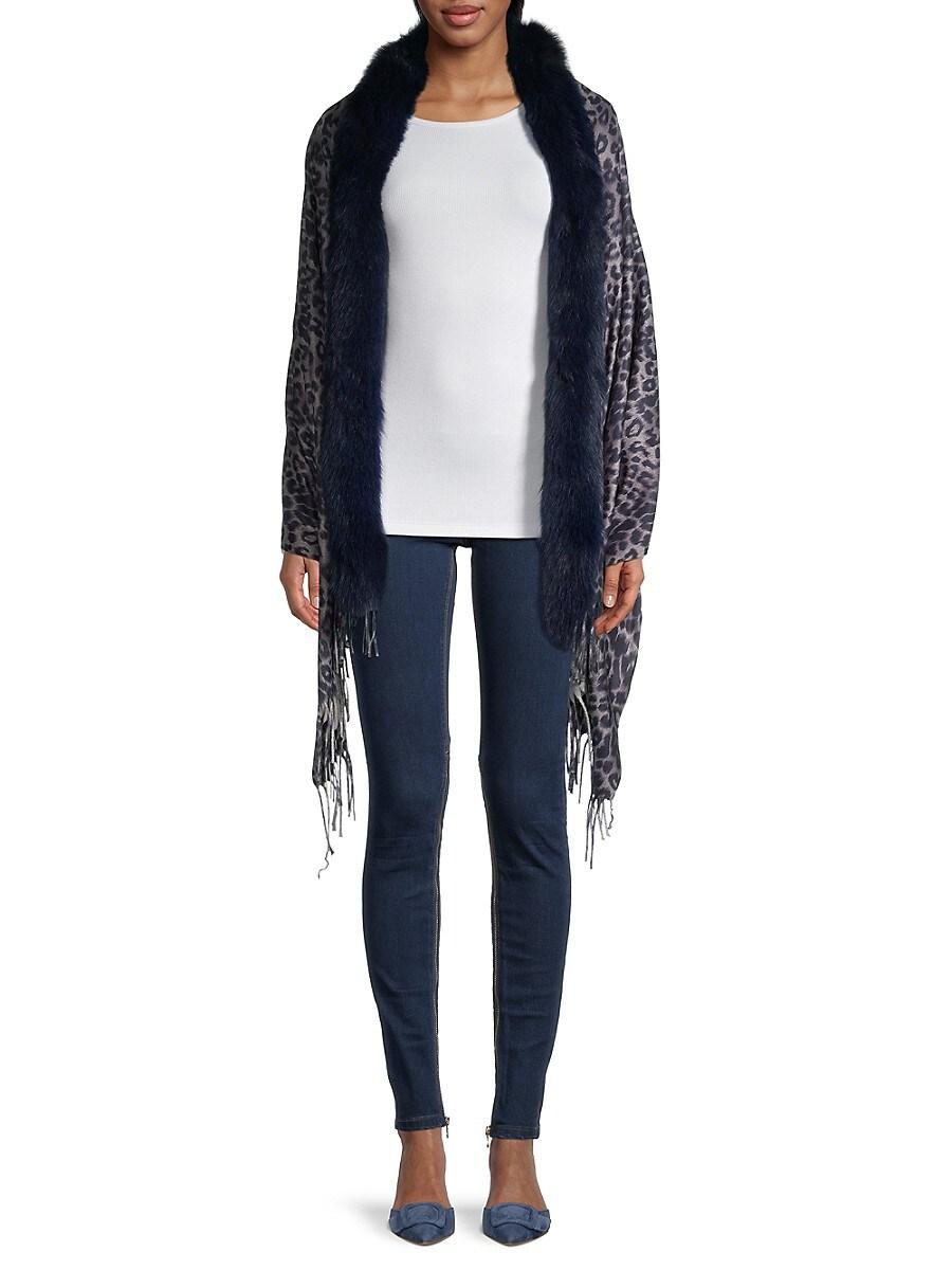 Women's Leopard-Print & Fox Fur-Trim Wrap
