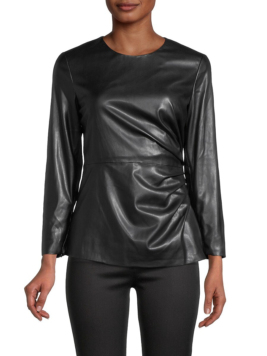 Women's Ruched Faux Leather Top