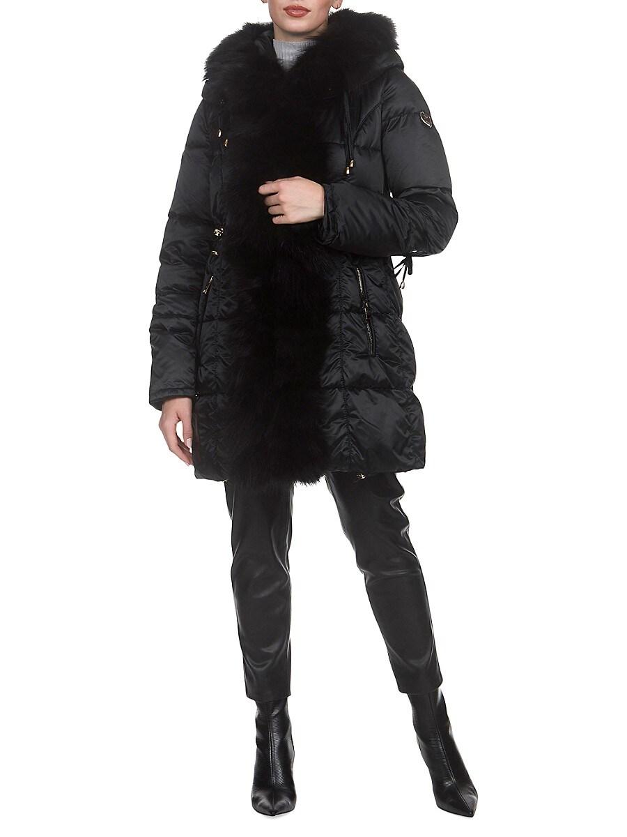 Women's Apres-Ski Fox Fur-Trim Goose Down Parka