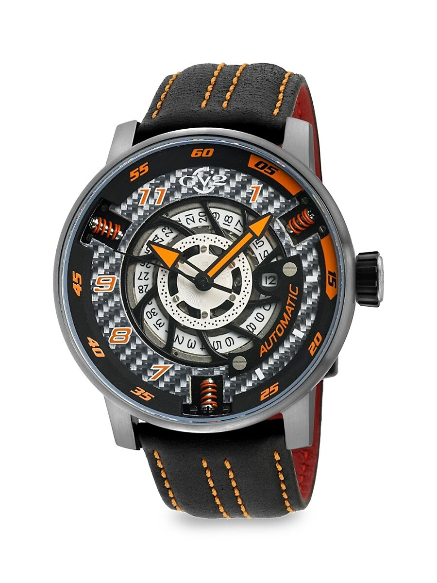 Men's Motorcycle Stainless Steel Swiss Automatic & Leather Strap Watch