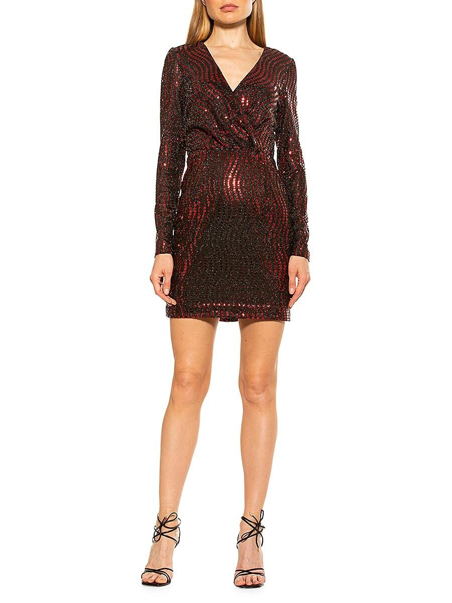 Alexia Admor Women's Sequin Faux-Wrap Mini Dress - Bordeaux - Size 16