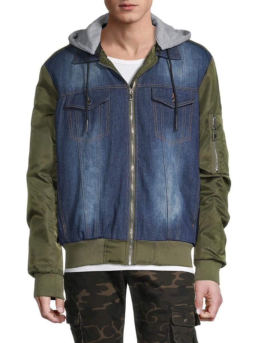 Men's Denim & Nylon Hooded Jacket