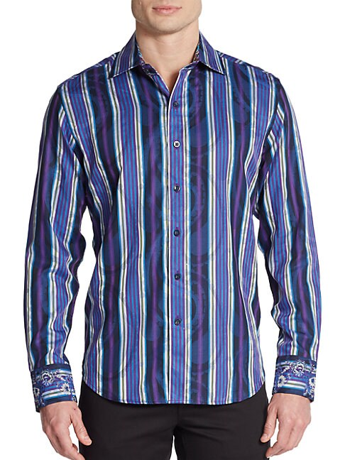 Tailored-Fit Striped Paisley Sportshirt
