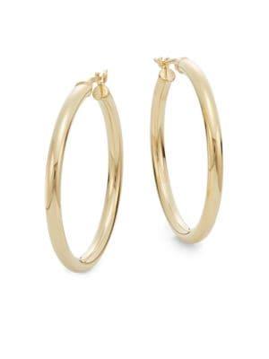 "Saks Fifth Avenue  14K Yellow Gold Hoop Earrings/1.2"""