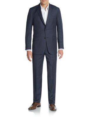 HICKEY FREEMAN Classic B Fit Solid Loro Piana Wool Suit in Navy